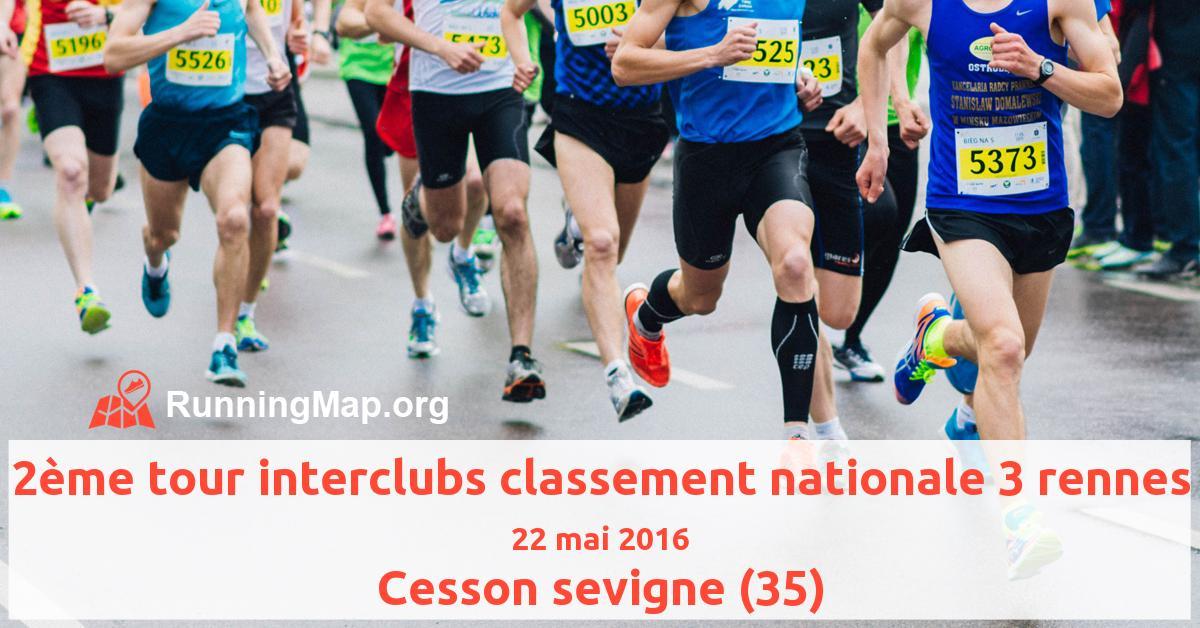 2ème tour interclubs classement nationale 3 rennes